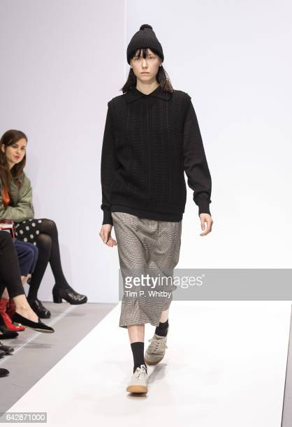 Model walks the runway at the Margaret Howell show during the London Fashion Week February 2017 collections at Rambert on February 19, 2017 in...