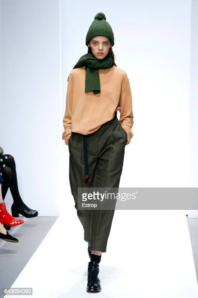 Model walks the runway at the Margaret Howell show during the London Fashion Week February 2017 collections on February 19, 2017 in London, England.