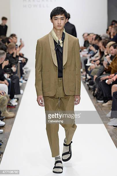 Model walks the runway at the Margaret Howell Spring Summer 2016 fashion show during London Menswear Fashion Week on June 14, 2015 in London, United...