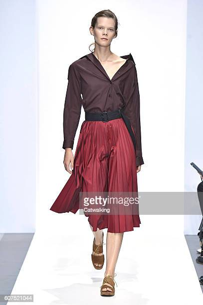 A model walks the runway at the Margaret Howell Spring Summer 2017 fashion show during London Fashion Week on September 18 2016 in London United...