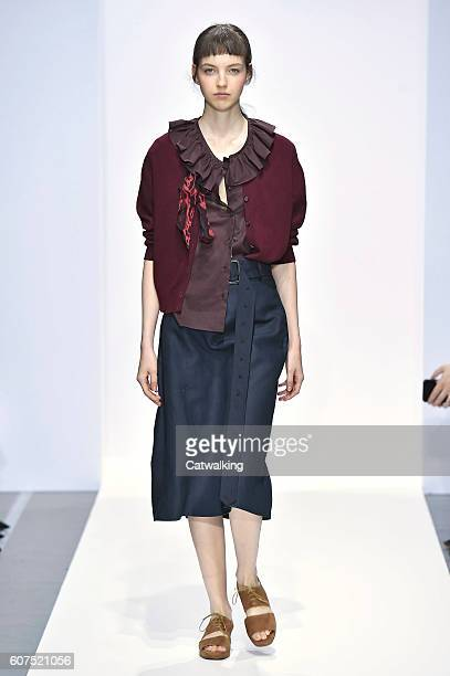 Model walks the runway at the Margaret Howell Spring Summer 2017 fashion show during London Fashion Week on September 18, 2016 in London, United...