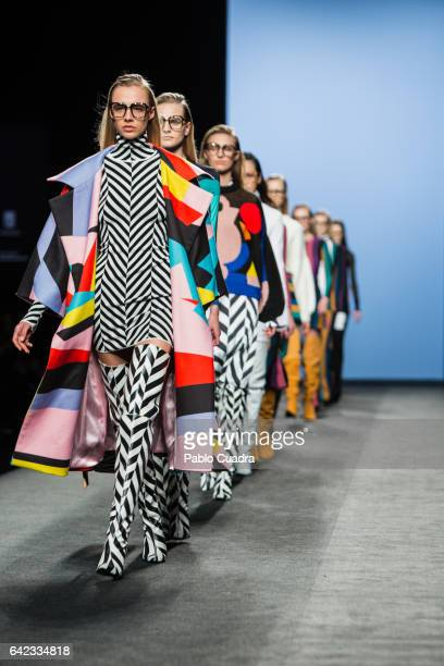 A model walks the runway at the Maria Escote show during the MercedesBenz Madrid Fashion Week Autumn/Winter 2017 at Ifema on February 17 2017 in...