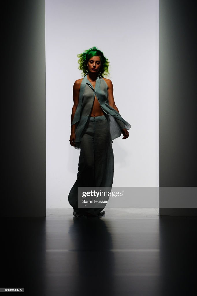 A model walks the runway at the Maria Grachvogel show during London Fashion Week SS14 at BFC Courtyard Showspace on September 17, 2013 in London, England.