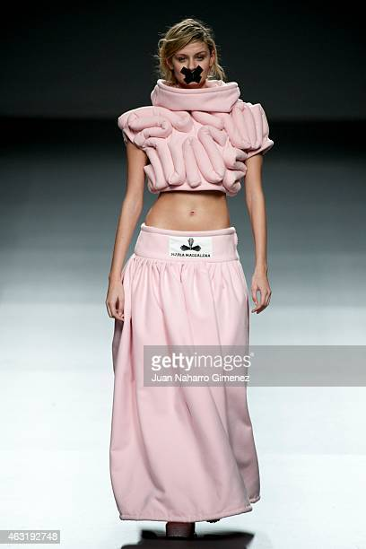 Model walks the runway at the Maria Magdalena show during Madrid Fashion Week Fall/Winter 2015/16 at Ifema on February 11, 2015 in Madrid, Spain.