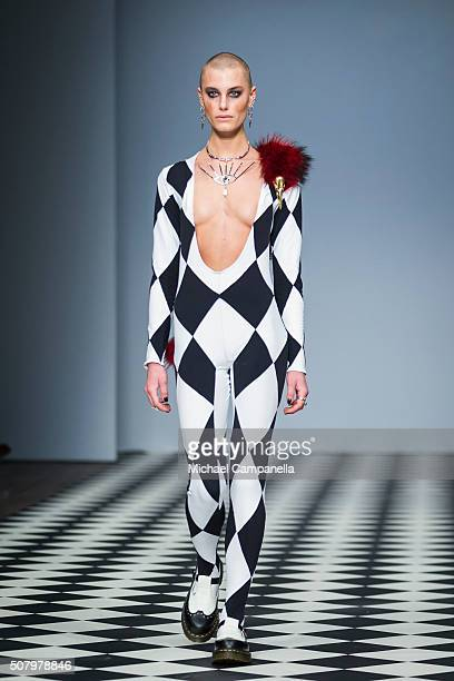 A model walks the runway at the Maria Nilsdotter show during Stockholm Fashion Week at Berns Hotel on February 2 2016 in Stockholm Sweden