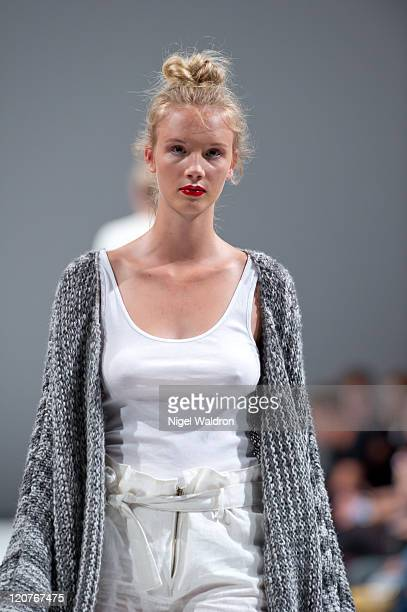 A model walks the runway at the Mariette show at Oslo Fashion Week Spring/Summer 2012 on August 9 2011 in Oslo Norway