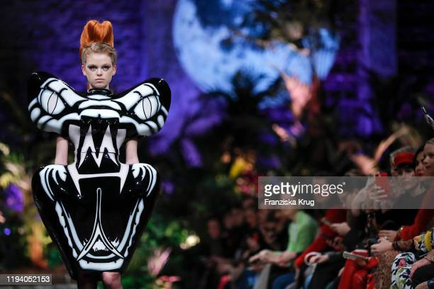 Model walks the runway at the Marina Hoermanseder defile during Berlin Fashion Week Autumn/Winter 2020 at Neuzeit Ost on January 16, 2020 in Berlin,...
