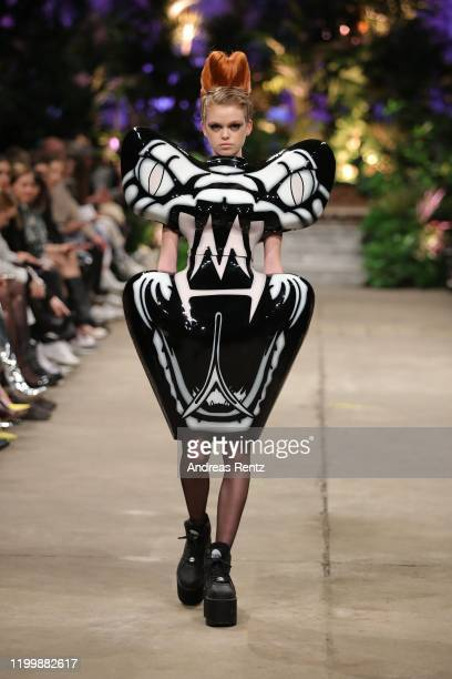 A model walks the runway at the Marina Hoermanseder defile during Berlin Fashion Week Autumn/Winter 2020 at Neuzeit Ost on January 16 2020 in Berlin...