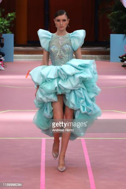 Model walks the runway at the Marina Hoermanseder Defile during the Berlin Fashion Week Spring/Summer 2020 at SEZ on July 04, 2019 in Berlin, Germany.