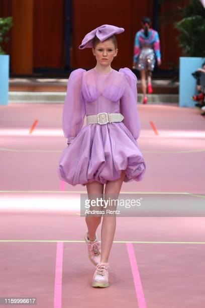A model walks the runway at the Marina Hoermanseder Defile during the Berlin Fashion Week Spring/Summer 2020 at SEZ on July 04 2019 in Berlin Germany