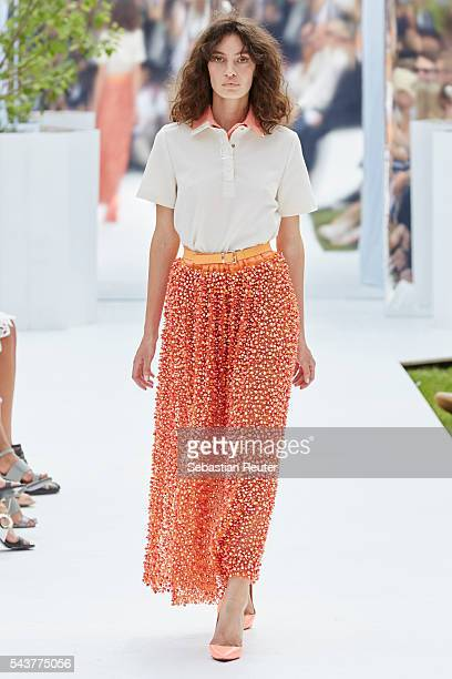 A model walks the runway at the Marina Hoermanseder defilee during the Der Berliner Mode Salon Spring/Summer 2017 at Kronprinzenpalais on June 30...