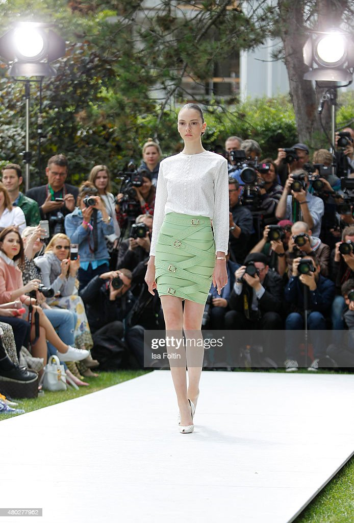 A model walks the runway at the Marina Hoermanseder Show during Der Berliner Modesalon on July 10, 2015 in Berlin, Germany.