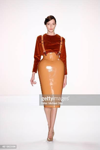 A model walks the runway at the Marina Hoermanseder show during the MercedesBenz Fashion Week Berlin Autumn/Winter 2015/16 at Brandenburg Gate on...