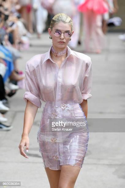A model walks the runway at the Marina Hoermanseder show during the Berlin Fashion Week Spring/Summer 2019 at ewerk on July 5 2018 in Berlin Germany