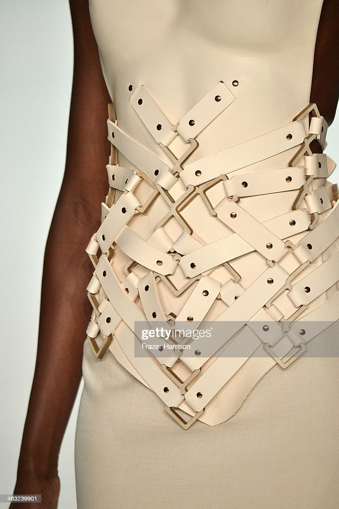 A model (fashion detail) walks the runway at the Marina Hoermanseder show during Mercedes-Benz Fashion Week Autumn/Winter 2014/15 at Brandenburg Gate on January 17, 2014 in Berlin, Germany.