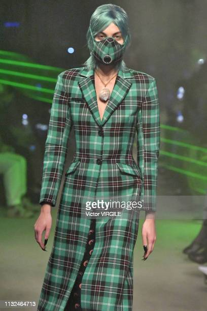 Model walks the runway at the Marine Serre Ready to Wear Fall/Winter 2019-2020 fashion show at Paris Fashion Week Autumn/Winter 2019/20 on February...