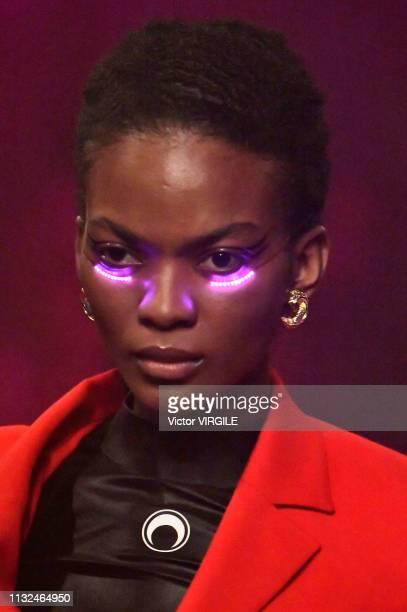 A model walks the runway at the Marine Serre Ready to Wear Fall/Winter 20192020 fashion show at Paris Fashion Week Autumn/Winter 2019/20 on February...