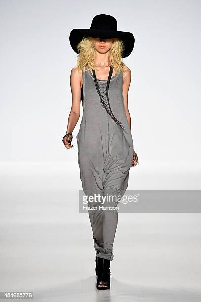 Model walks the runway at the Mark And Estel fashion show during Mercedes-Benz Fashion Week Spring 2015 at The Salon at Lincoln Center on September...