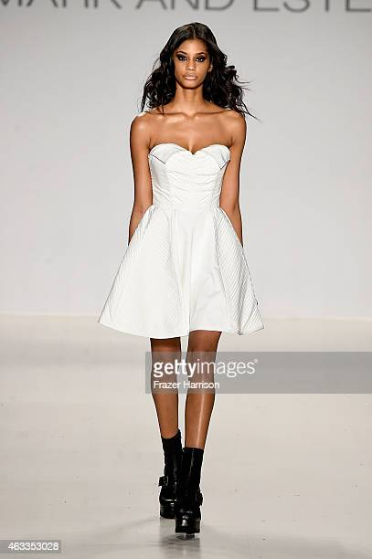 A model walks the runway at the Mark And Estel fashion show during MercedesBenz Fashion Week Fall 2015 at The Salon at Lincoln Center on February 13...