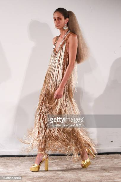A model walks the runway at the Mark Fast DiscoveryLAB during London Fashion Week September 2018 at the BFC Designer Showrooms on September 18 2018...
