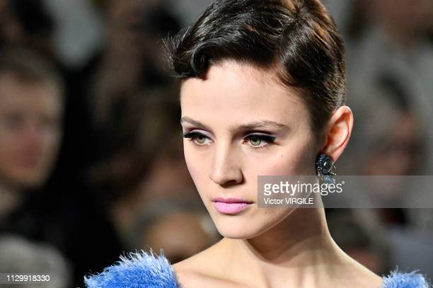 A model walks the runway at the Mark Fast Ready to Wear Fall/Winter 20192020 fashion show during London Fashion Week February 2019 on February 15...