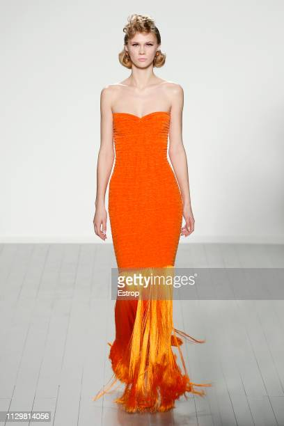 A model walks the runway at the Mark Fast show during London Fashion Week February 2019 at the BFC Show Space on February 15 2019 in London England
