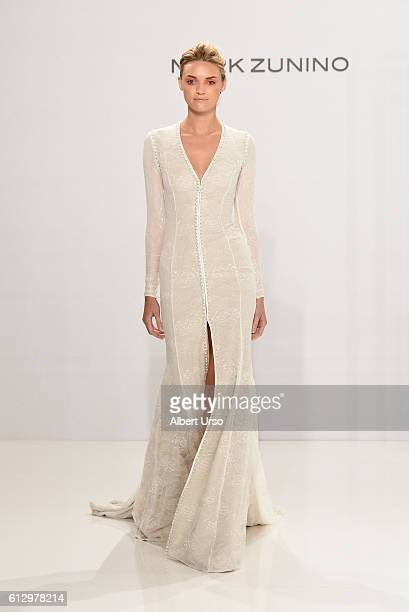 A model walks the runway at the Mark Zunino For Kleinfeld show during New York Fashion Week Bridal at Kleinfeld on October 6 2016 in New York City