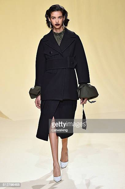 A model walks the runway at the Marni Autumn Winter 2016 fashion show during Milan Fashion Week on February 28 2016 in Milan Italy