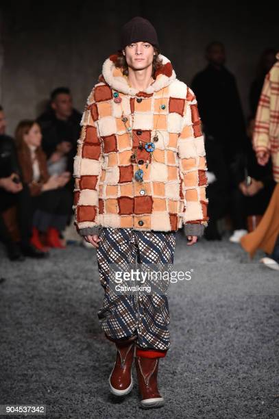 A model walks the runway at the Marni Autumn Winter 2018 fashion show during Milan Menswear Fashion Week on January 13 2018 in Milan Italy