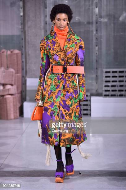 A model walks the runway at the Marni Autumn Winter 2018 fashion show during Milan Fashion Week on February 25 2018 in Milan Italy