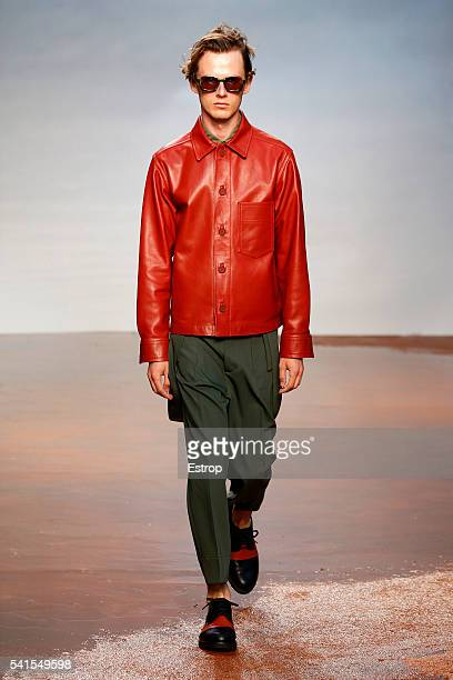 A model walks the runway at the Marni designed by Consuelo Castiglione show during Milan Men's Fashion Week Spring/Summer 2017 on June 18 2016 in...