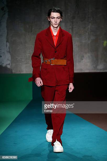 Model walks the runway at the Marni designed by Consuelo Castiglione show during Milan Men's Fashion Week Fall/Winter 2017/18 on January 14, 2017 in...