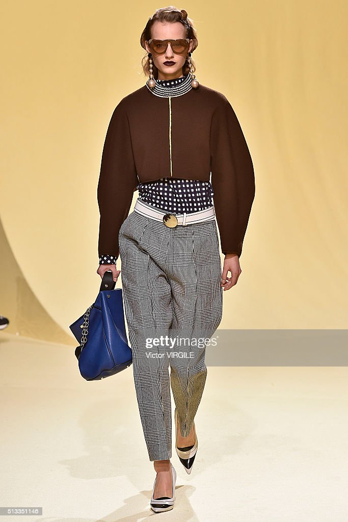 A model walks the runway at the Marni fashion show during Milan Fashion Week Fall/Winter 2016/2017 on February 28, 2016 in Milan, Italy.