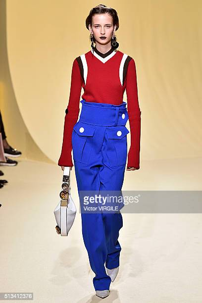 A model walks the runway at the Marni fashion show during Milan Fashion Week Fall/Winter 2016/2017 on February 28 2016 in Milan Italy