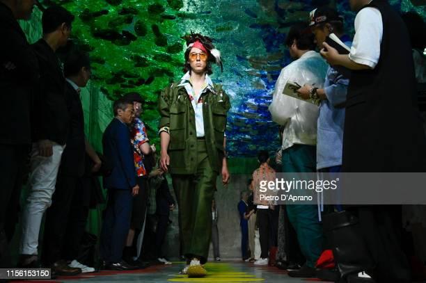 Model walks the runway at the Marni fashion show during Milan Men's Fashion Week Spring/Summer 2020 on June 15, 2019 in Milan, Italy.