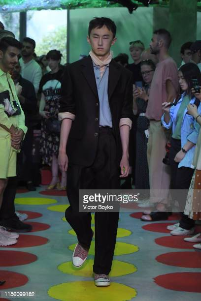 Model walks the runway at the Marni fashion show during the Milan Men's Fashion Week Spring/Summer 2020 on June 15, 2019 in Milan, Italy.