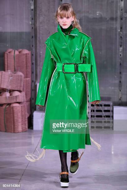 A model walks the runway at the Marni Ready to Wear Fall/Winter 20182019 fashion show during Milan Fashion Week Fall/Winter 2018/19 on February 25...