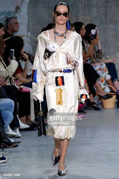 A model walks the runway at the Marni Ready to Wear fashion show during Milan Fashion Week Spring/Summer 2019 on September 23 2018 in Milan Italy