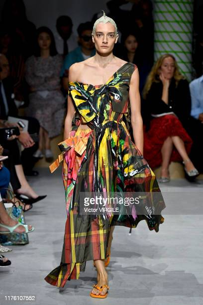 Model walks the runway at the Marni Ready to Wear fashion show during the Milan Fashion Week Spring/Summer 2020 on September 20, 2019 in Milan, Italy.