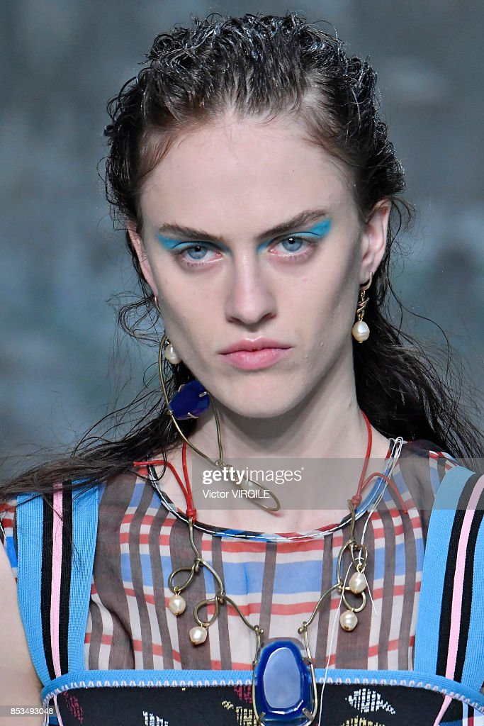 A model walks the runway at the Marni Ready to Wear Spring/Summer 2018 fashion show during Milan Fashion Week Spring/Summer 2018 on September 24, 2017 in Milan, Italy.