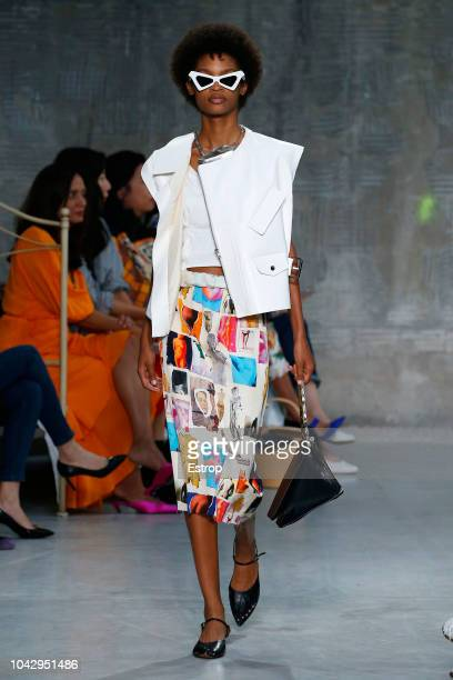A model walks the runway at the Marni show during Milan Fashion Week Spring/Summer 2019 on September 23 2018 in Milan Italy