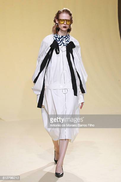 Model walks the runway at the Marni show during Milan Fashion Week Fall/Winter 2016/17 on February 28, 2016 in Milan, Italy.