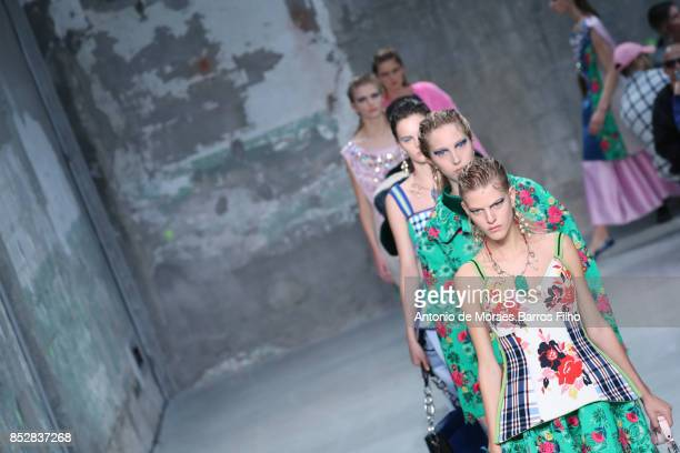 A model walks the runway at the Marni show during Milan Fashion Week Spring/Summer 2018 on September 24 2017 in Milan Italy