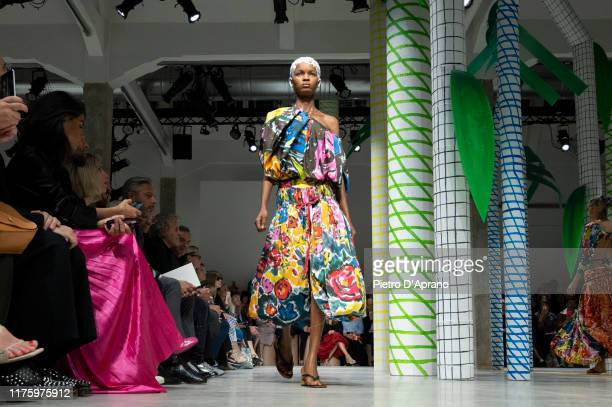 Model walks the runway at the Marni show during the Milan Fashion Week Spring/Summer 2020 on September 20, 2019 in Milan, Italy.
