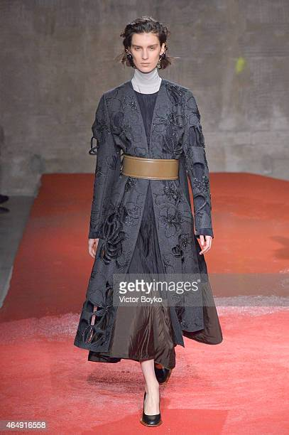 Model walks the runway at the Marni show during the Milan Fashion Week Autumn/Winter 2015 on March 1, 2015 in Milan, Italy.