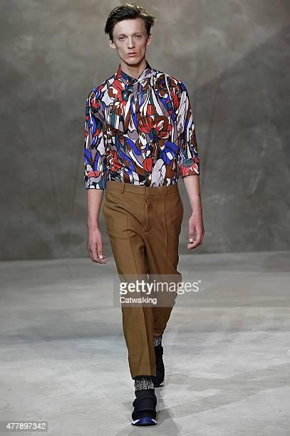 Model walks the runway at the Marni Spring Summer 2016 fashion show during Milan Menswear Fashion Week on June 20, 2015 in Milan, Italy.