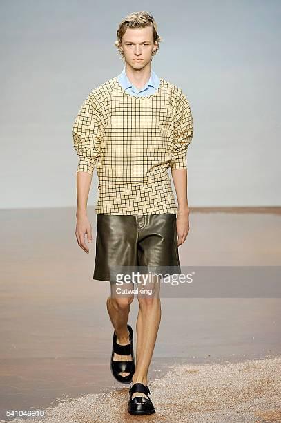 Model walks the runway at the Marni Spring Summer 2017 fashion show during Milan Menswear Fashion Week on June 18, 2016 in Milan, Italy.