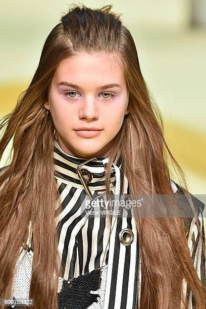 A model walks the runway at the Marques Almeida show during London Fashion Week Spring/Summer collections 2017 on September 20 2016 in London United...