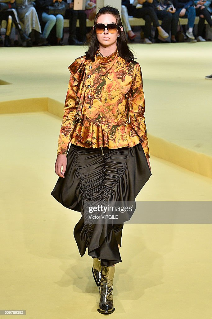 A model walks the runway at the Marques Almeida show during London Fashion Week Spring/Summer collections 2017 on September 20, 2016 in London, United Kingdom.