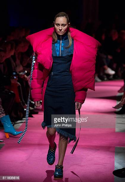 A model walks the runway at the Marques'Almeida show during London Fashion Week Autumn/Winter 2016/17 at Olympia West on February 23 2016 in London...